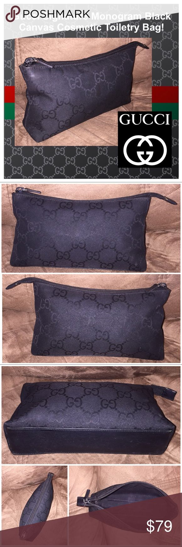 """Gucci Signature Monogram Cosmetic Toiletry Bag! Gucci Signature Monogram Black Canvas Cosmetic Toiletry Bag! 100% authentic, Gucci Monogram design, black canvas, leather trim, travel / cosmetic / toiletry bag, top zipper closure, """"GUCCI"""" pull. """"GUCCI made in Italy"""" leather an with serial no. on inside. Measures 8 1/2"""" across x 5"""" high x 2"""" wide. Minor interior marks & light exterior wear. No rips, tears or damage. Good condition! Offers welcomed! Gucci Bags Cosmetic Bags & Cases"""
