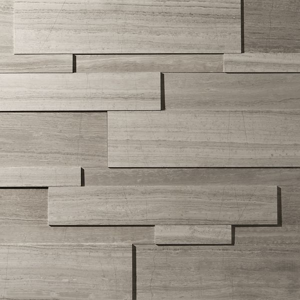 Large Strips Natural Stone - ErthCOVERINGS  Fireplace feature wall