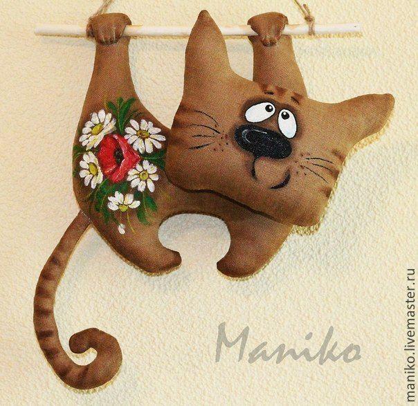 Купить Кот интерьерный Текстильный - коричневый, кот, котик, коты и кошки, текстильная игрушка, кухня