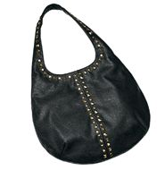 """$36.00 mark Ebony Edge Bag If there's one bag that you have to have, this is it: versatile black, a sleek shape, plus edgy, alternating round and pyramid studs. Very cool. Faux leather and goldtone studs. 16 1/2"""" W x 4 1/2"""" D x 13 3/4"""" H (10"""" handle drop)  http://shop.avon.com/product.aspx?level2_id=469_id=487_id=502_type=C_id=47481"""