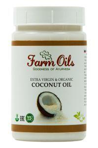 Фото - Органическое кокосовое масло Farm Oils «Extra Virgin» (пищевое), 250 мл.