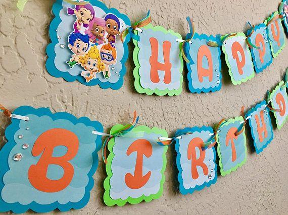 Banner de cumpleaños de lebistes de burbuja burbuja lebistes