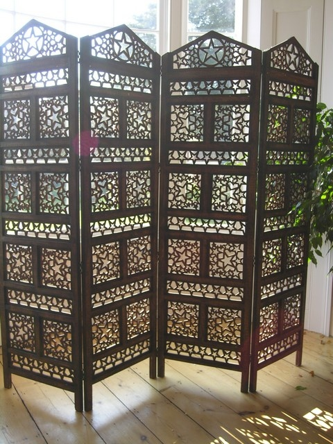 Indian carved wooden screen with 4 panels with a star design
