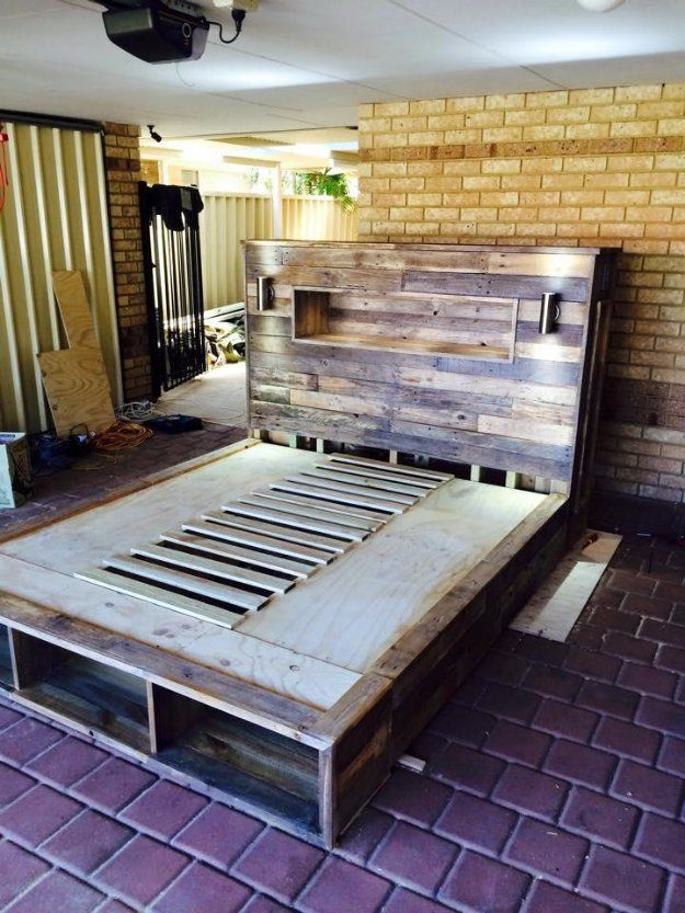 DIY Pallet Furniture Ideas - DIY Pallet Bed with Headboard and Lights - Best Do It Yourself Projects Made With Wooden Pallets - Indoor and Outdoor, Bedroom, Living Room, Patio. Coffee Table, Couch, Dining Tables, Shelves, Racks and Benches http://diyjoy.com/diy-pallet-furniture-projects
