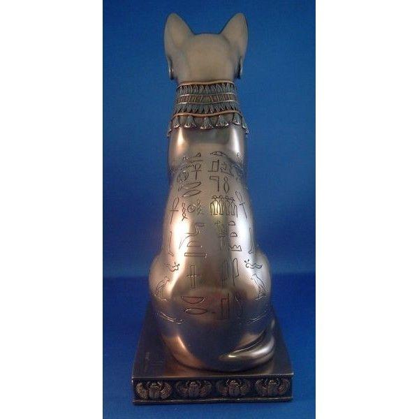Большой 12 1/2 дюйма с высоким статуя Бастет, египетская кошка Богиня ошеломляющая часть покрыта древними египетскими символами.