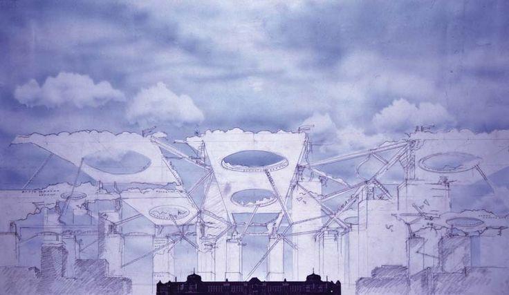 Mid-Air City sketch, Umeda Sky Building, Kita-ku, Osaka, Japan (1993) | Hiroshi Hara