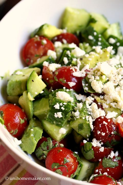 Cucumber Tomato and Avocado Salad | Best Comfort Foods | Pinterest