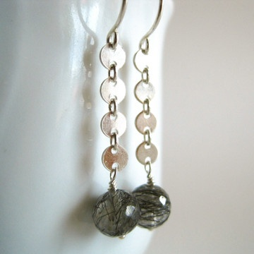 Handmade in Hawaii, the Rutilated Quartz Earrings feature small faceted quartz rounds with black rutiles, connected by a series of tiny silver discs.: Features Small, Faceted Quartz, Earrings Features, Quartz Earrings, Kahili Creations, Quartz Round, Creations Fab, Design Inspirations, Black Rutil