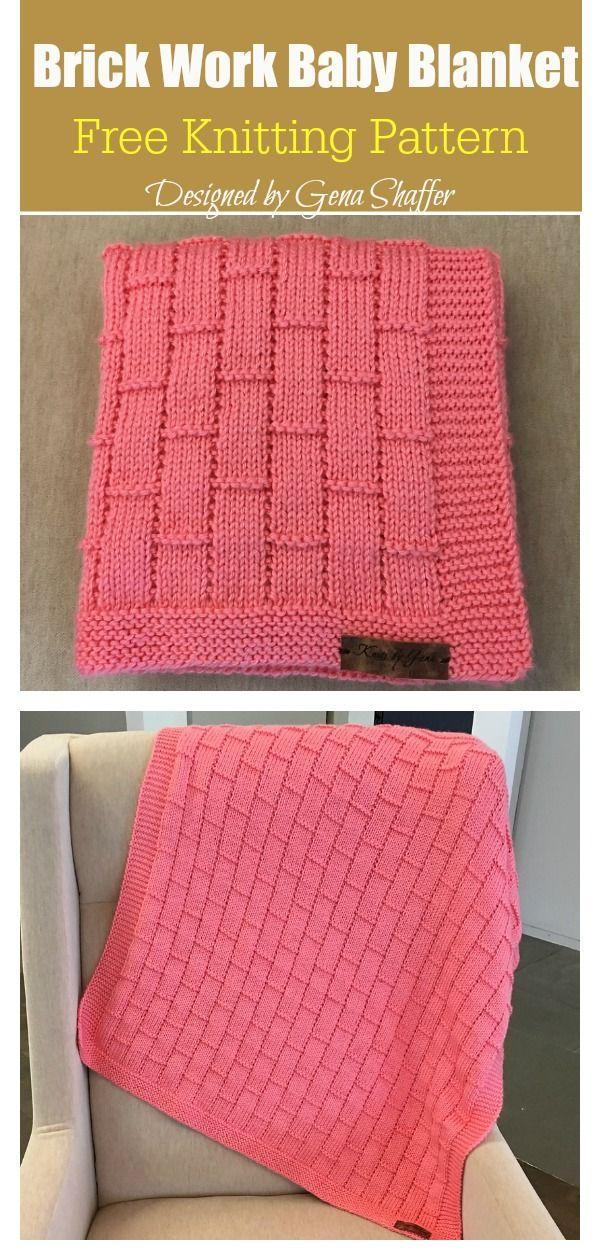 Brick Work Baby Blanket Free Knitting Pattern