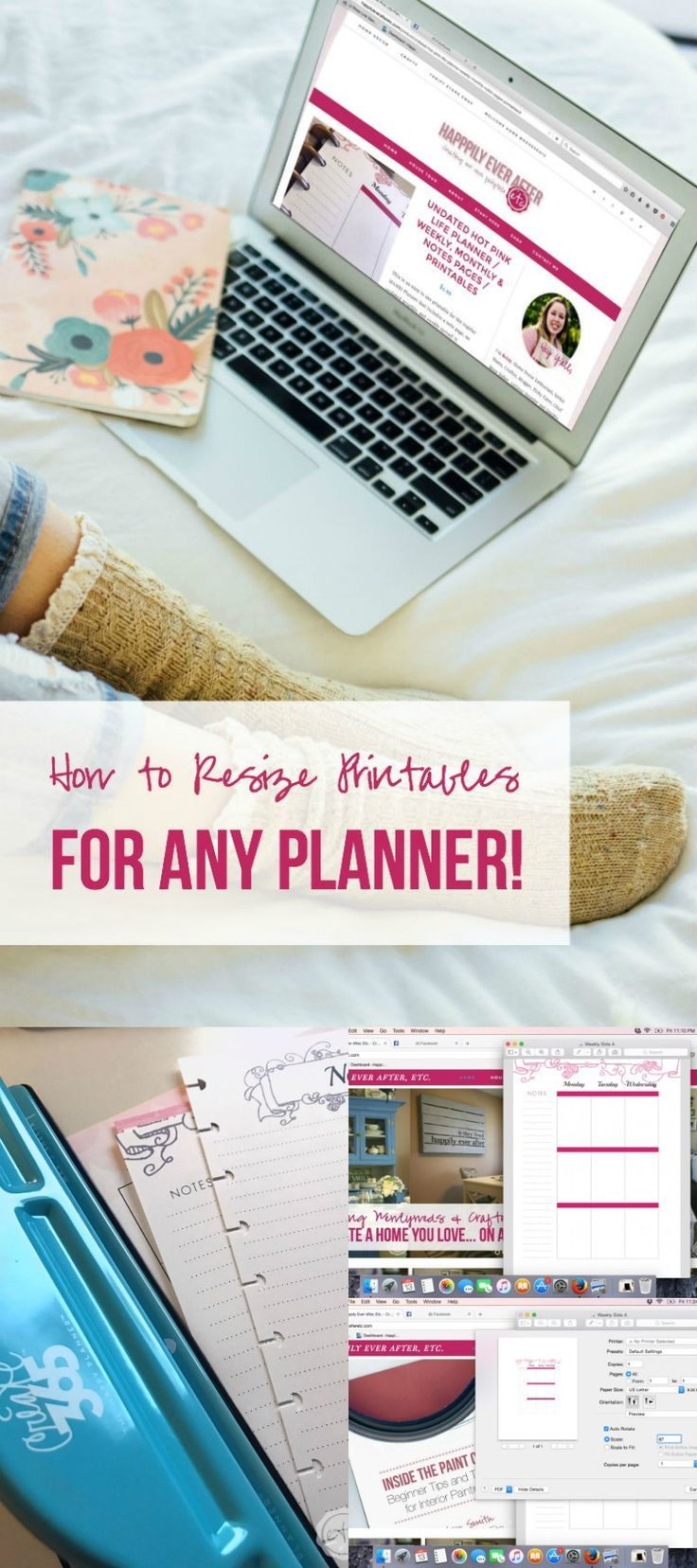 How to resize printables for any planner with @happilyeverafteretc