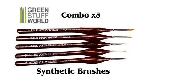 Profi PINSEL Set COMBOx5  Synthetische-Haar  von GreenStuffWorld