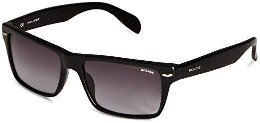 Police S1721 0700 Wayfarer-Occhiali da sole da uomo Shiny Black