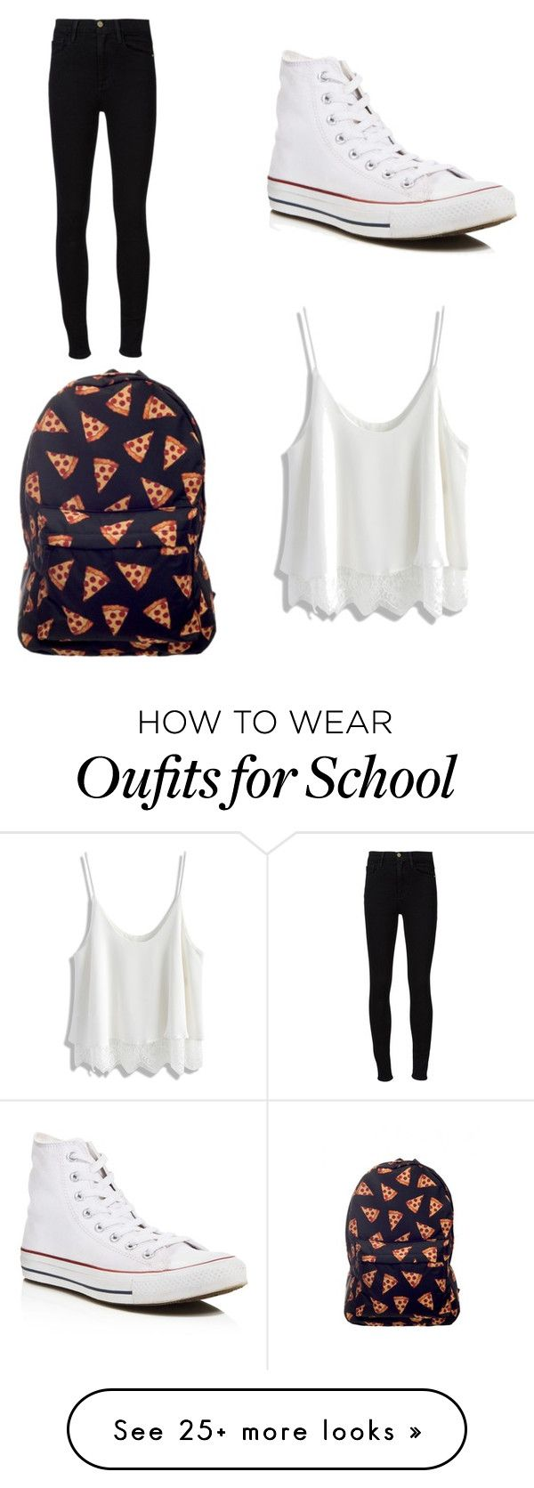 School outfit by gisselleotero on Polyvore featuring Converse, Frame Denim and Chicwish