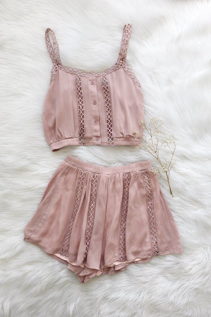 """- Details - Size - Shipping - • 100% Rayon • Crop top and highlights short two piece set. • Hand Wash • Line dry • Imported • Measured from small • Length 15.5"""" • Chest 14"""" • Waist 11"""" • Rise 17.5"""" •"""
