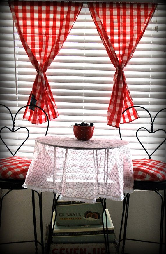 Retro Rockabilly Red & White Gingham Check with by DollfaceBettys, $19.99