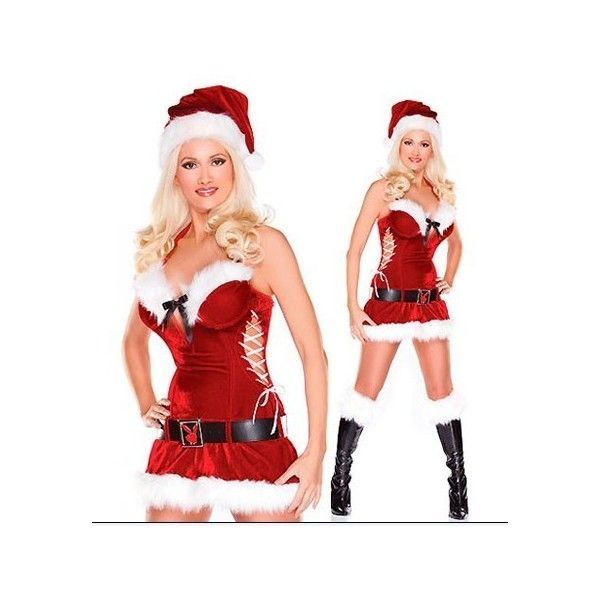 funny Christmas Costumes Womens Red Furry Lace Up Halter ($20) ❤ liked on Polyvore featuring costumes, red, santa costume, lady santa costume, womens halloween costumes, funny halloween costumes and womens santa claus costume