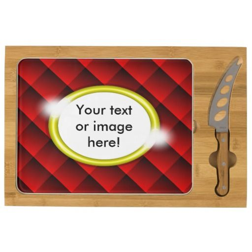 Red Black Diamond Squares 3D Gold Frame Rectangular Cheese Board - This design features fading red and black 3D squares with a gold frame in which to add your own text, image, photo or picture. This can be a gift for a best friend, husband, wife, boyfriend, girlfriend, a fathers day gift, Christmas gift or Valentines Day gift.