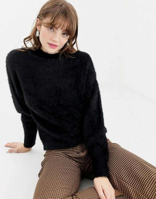 Monki fluffy knit sweater in black   Fashion   Sweaters