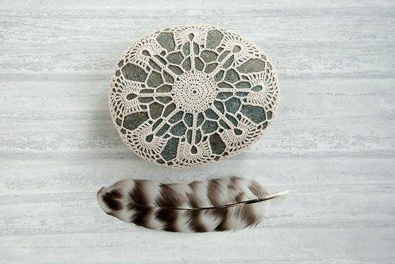 crochet lace stone // beige art object // dark turquoise beach rock // bowl element // art object // housewarming gift via Etsy