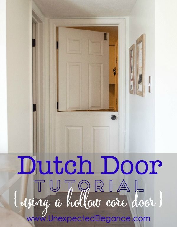 Check out how to create a Dutch door using a hollow core door.  This DIY project is a perfect way to interest to your home and works well for toddlers and dogs!  I'll also share how it's held up for over 4 years.