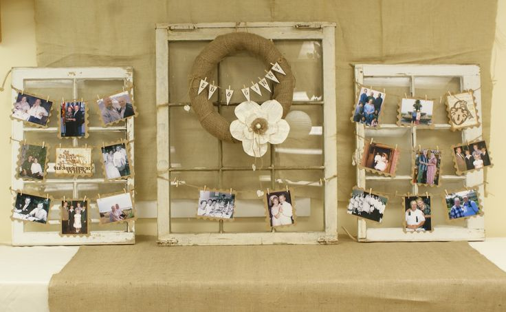 50th wedding anniversary decorations | Behind the cake table we created these wonderful window photo displays ...
