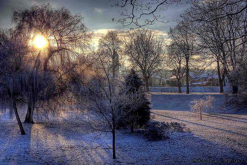 Winter scene in Bitts Park, Carlisle, Cumbria, England.