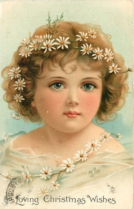 NEW YEAR GREETINGS or LOVING CHRISTMAS WISHES  head and shoulders of girl adorned with daisies