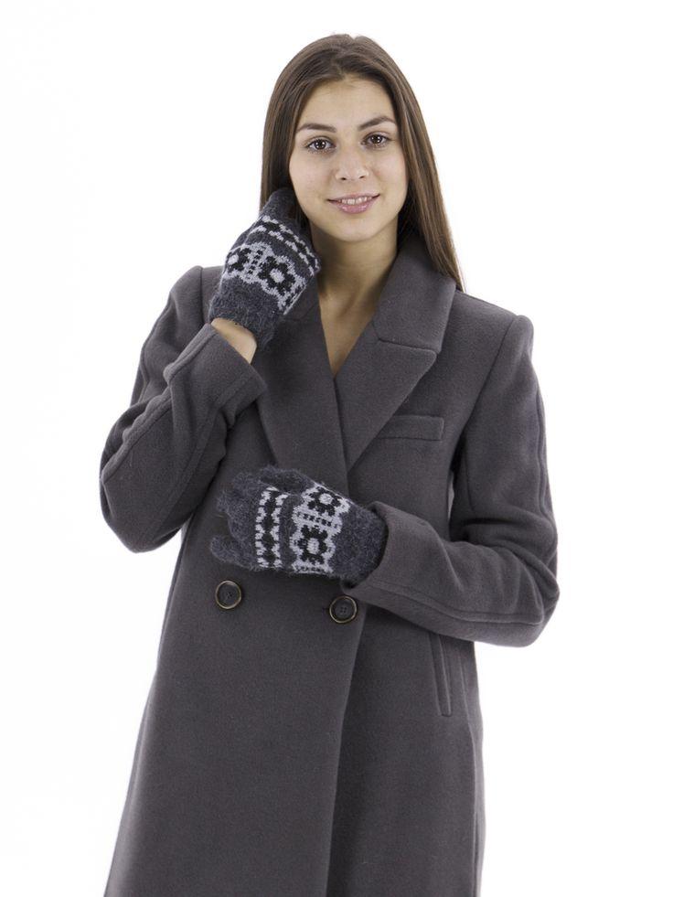 Перчатки темно-серые с узором - Moz art - 202238