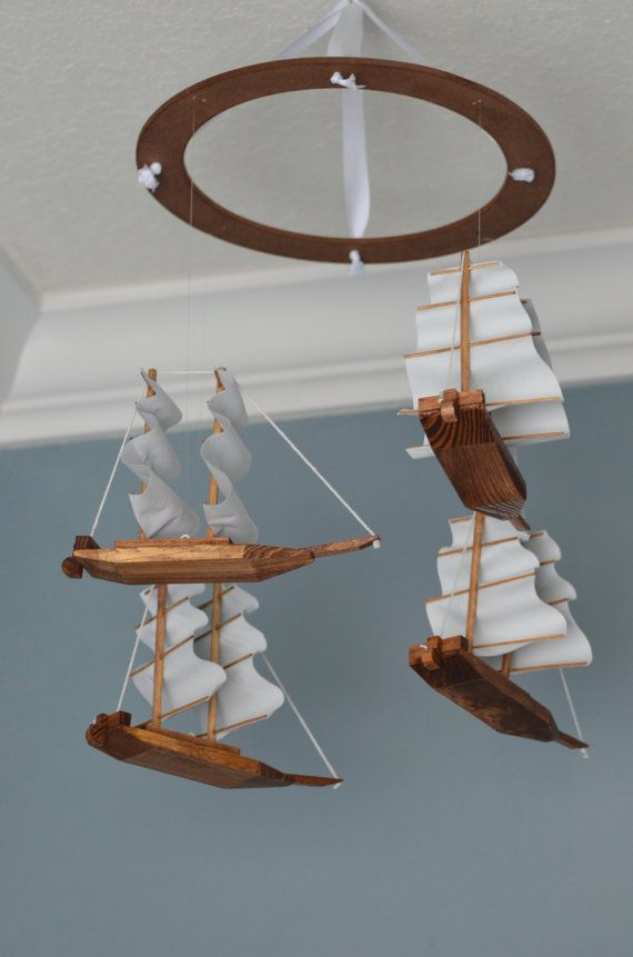 Pirate Nursery Mobile - Wooden Fabric - Nautical Pirateship - Boy Nursery Decor - Pirate Decor by FlutterBunnyBoutique