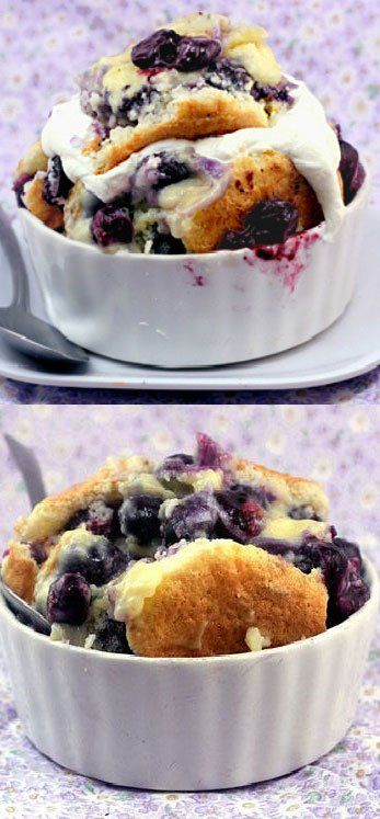 Magic Blueberry Pudding Cake Recipe - One batter morphs into cake, pudding and blueberry filling. #recipe