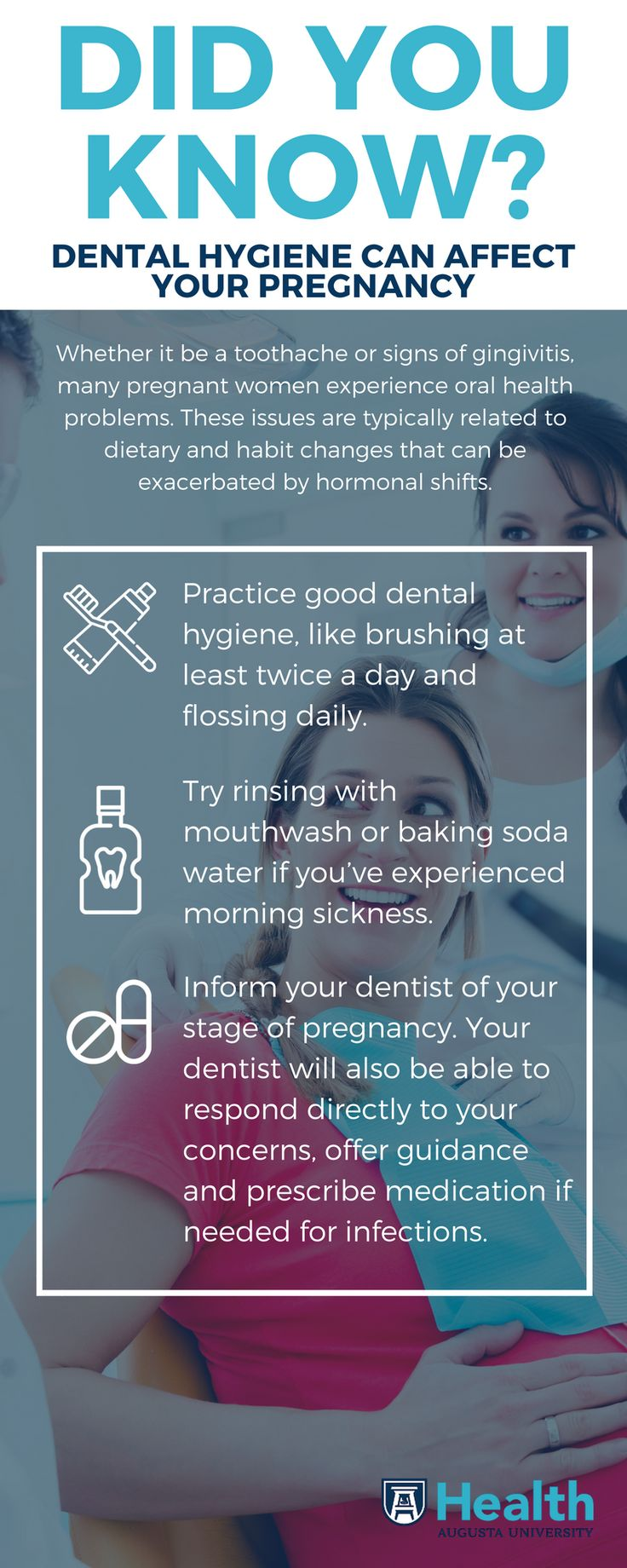 Regular doctor visits, physical changes and preparing for the new person in your life take plenty of your attention. It's no wonder simple tasks, such as dental care, are commonly forgotten during pregnancy. Fortunately, most oral ailments you may encounter during pregnancy can be counteracted easily by being attentive and consulting your dentist.