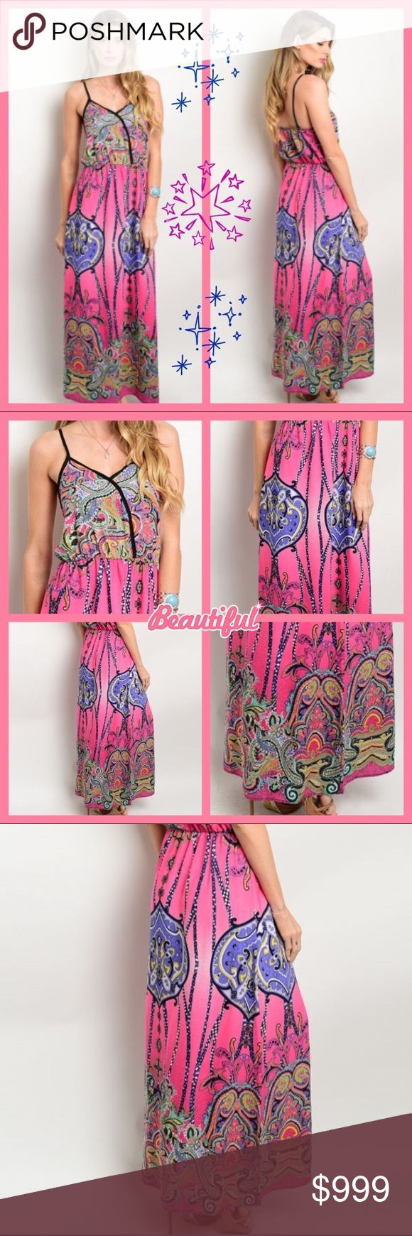 🆕 💕 Colorful ethnic print maxi dress. S-M-L Colorful ethnic print dress features a maxi hem length, empire silhouette and spaghetti straps. Perfect for a warm summer day. Material 100 poly. Made in USA 🇺🇸 Available in S-M-L. Bust small is 30, length 56. Bust medium is 32, length 56. Bust large is 34, length 58. ♦️PRICE FIRM UNLESS BUNDLED♦️ Dresses Maxi