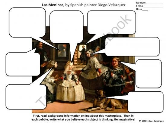 Completar los bocadillos. Spanish Art Creative Writing Activity - Las Meninas by Diego Velazquez from Sue Summers on TeachersNotebook.com -  (4 pages)