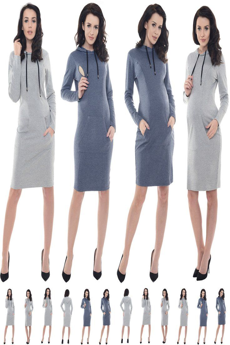 Purpless Maternity Pregnancy and Nursing Hooded Bodycon Dress with Pocket B6211
