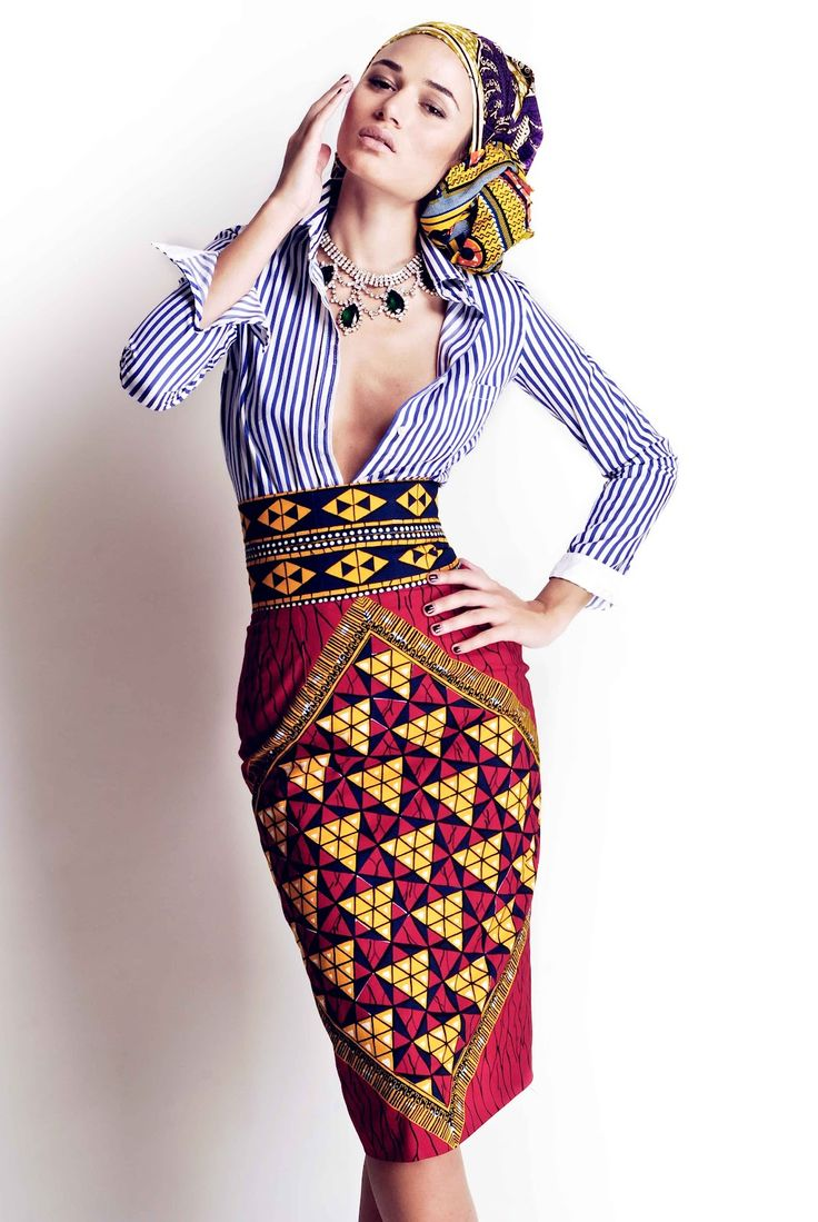"""African Prints in Fashion: Stella Jean: """"I am half Italian and half Haitian - Haiti is the First Free Black Republic. That's why I have decided to melt the European striped shirt (colonialist side) with the wax fabrics - but in a 60s style. This collection reflects me completely."""""""