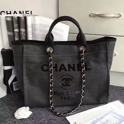 2c09bd15d047 Chanel Canvas and Sequins Cubano Trip Deauville Shopping Bag A66941 ...