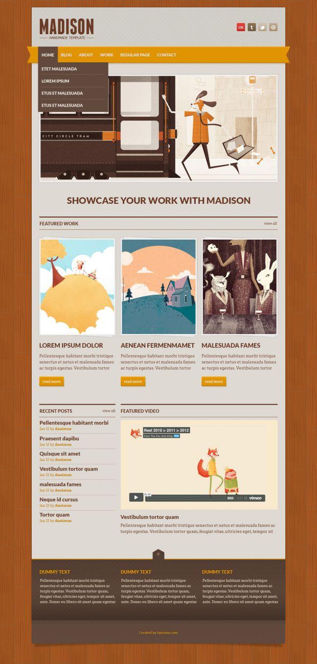 Madison, #Free, #Layout, #Portfolio, #PSD, #Resource, #Retro, #Template, #Vintage, #Web #Design, #Wood