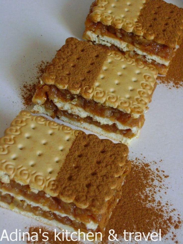 Retete mancare Gateste Inteligent Prajitura din biscuiti si mere aromate cu coaja de portocale