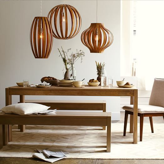 Bentwood Pendants | West Elm. I love this look. $189 each and you'd want all three like this over your dining table.