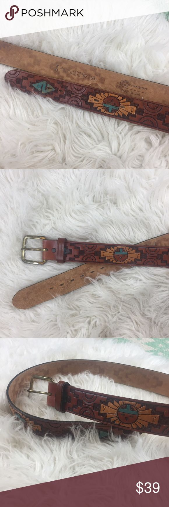 """VINTAGE Southwestern Aztec Tribal Leather Belt Genuine leather belt with Aztec designs and texture and hand painted aqua and yellow accents. Made in the USA in the 1970's. Leather shows some light scuff marks and buckle shows light tarnishing. In overall great vintage condition. Measures 36"""" when buckled at loosest. 💫 Smoke free home. Offers are welcome! No trades, please. Bundle multiple items for a discount and only pay for shipping once! Vintage Accessories Belts"""