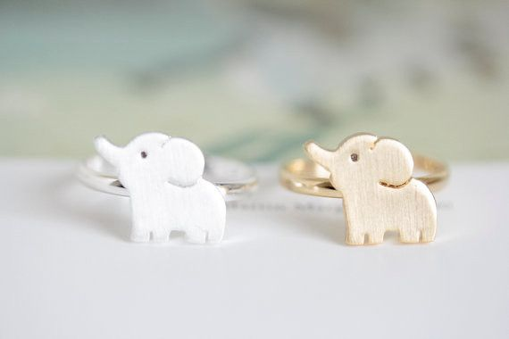 Cute Elephant Ring - Silver & Gold