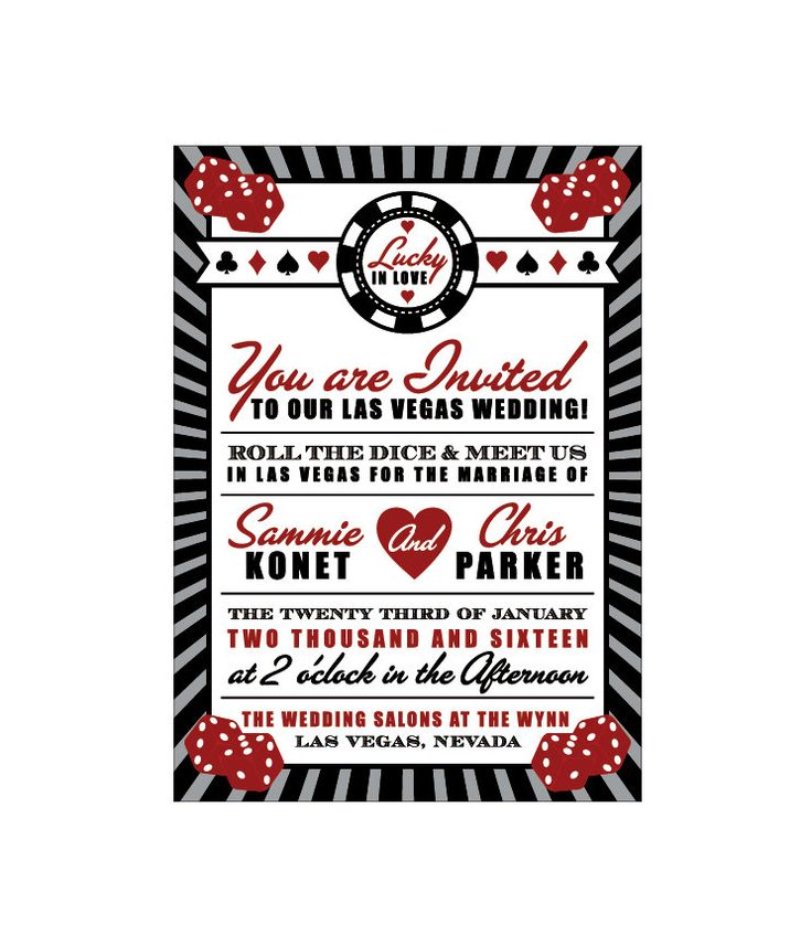 Las Vegas Wedding Invitations Vintage Retro By Jkdesignorlando