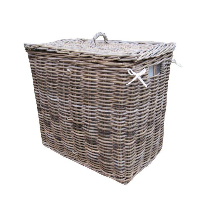 grey u0026 buff rattan rectangular lights darks 2 section lined laundry basket