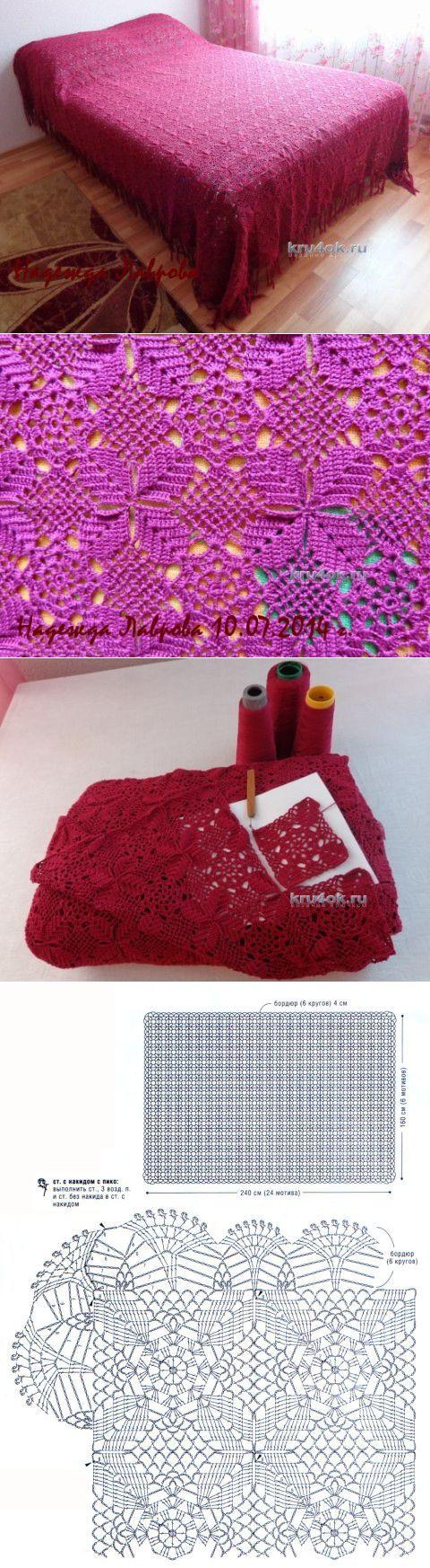 Покрывало крючком с описанием и схемой вязания - вязание крючком на kru4ok.ru