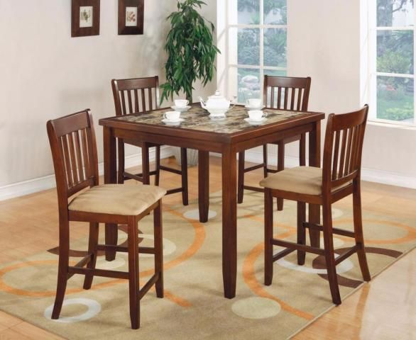 FREE Delivery In Ottawa 5 PC Square Faux Marble Bar Height Dining Table Set