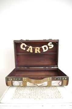 Cards ~ I like the idea of using a a vintage suitcase for card storage!