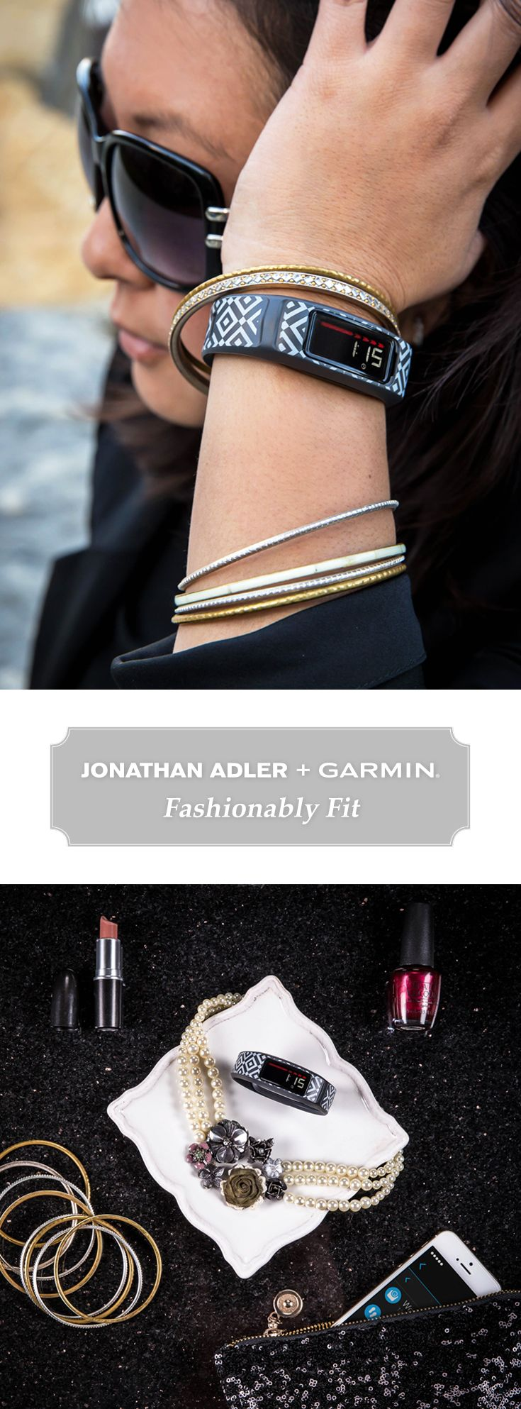 Pretty never goes out of style. With the patterned vivofit 2 fitness bands from @jonathanadler, you can upgrade your wardrobe easily. Track your steps from the gym to the office to a night on the town all with one stylish band. #JAxGarmin