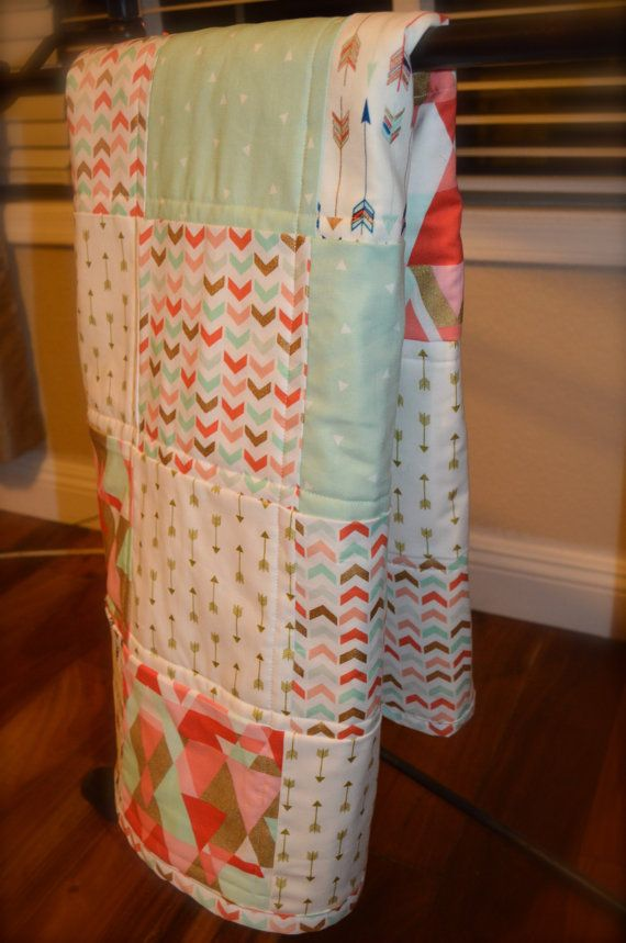 Coral Mint and Gold Arrow Quilt with Minky by MadeWithLoveBedding