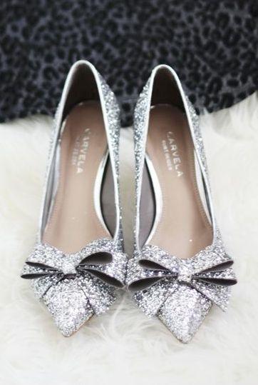 Glitter bow heels ... Silver...Kurt Geiger