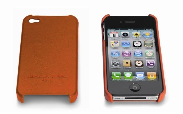 Giorgio fedon iphone 4G Hard Case in Orange Nappa Leather